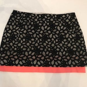 DVF Black Lace Mini Skirt with Coral Lining - 6
